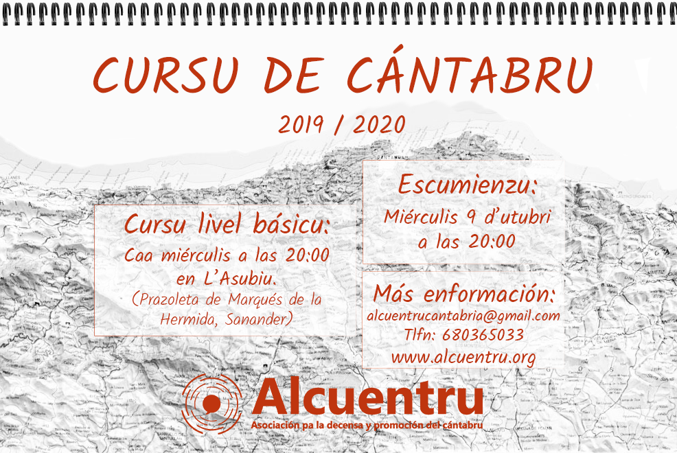 cartel cursu de cántabru, los miércoles a las 20:00 en L'Asubiu (Santander)